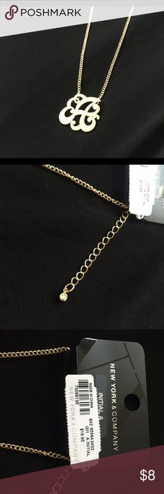 """Initial Necklace """"A"""" New York & Company-Gold New York & Company Gold Played initial necklace.  The letter """"A"""".  Brand new and never worn.  16"""" plus an extender with a cute cz stone on the end.  Hot for fall! New York & Company Jewelry Necklaces"""