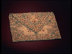 1750-1775, Great Britain - Bag - Silk, embroidered with coloured silks