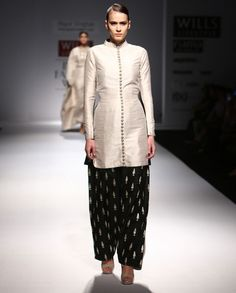 Half and Half Kurta Patiala Set with Embroidered Motifs - Payal Singhal - Designers