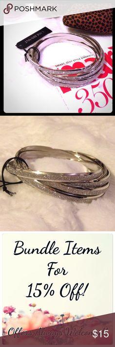 🆕 LANE BRYANT 6 Piece Sliver Bangle Bracelet Set 6 piece interlocked silver tone glitter bangle bracelet set.  ▪REASONABLE OFFERS WELCOMED or BUNDLE FOR 15% OFF!▪️ Lane Bryant Jewelry Bracelets