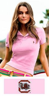 Polo Ralph Lauren Skinnyfit Polo: An iconic cotton mesh polo is given a chic update in a shrunken fit with embroidered South Carolina Gamecocks logo. Available in pink, black or white. $85.00