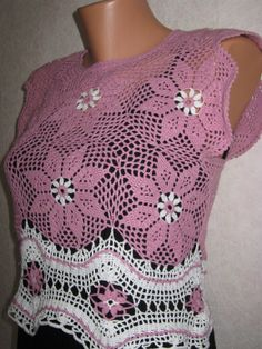 топик Crochet Skirts, Crochet Blouse, Knit Or Crochet, Crochet Motif, Irish Crochet, Crochet Clothes, Crochet Patterns, Crochet Tops, Summer Patterns