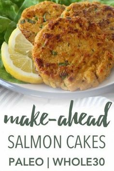 With just a handful of ingredients these paleo & salmon cakes can be made ahead of time and browned before serving. Ideal for a quick meal that is gluten-free grain-free refined sugar free and dairy free. Canned Salmon Recipes, Fish Recipes, Lunch Recipes, Seafood Recipes, Paleo Recipes, Dinner Recipes, Delicious Recipes, Grain Free, Dairy Free