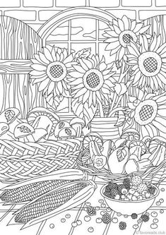 Nature Gifts - Printable Adult Coloring Page from Favoreads (Coloring book pages for adults and kids, Coloring sheets, Coloring designs) Coloring Pages Nature, Truck Coloring Pages, Coloring Book Art, Printable Adult Coloring Pages, Flower Coloring Pages, Mandala Coloring, Free Coloring, Coloring Sheets, Coloring Pages For Kids
