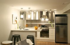Kitchen reno ideas. good use of space with island coming from wall and doubling as table