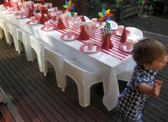 carousel party table set up