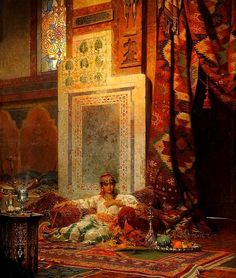 Medieval Islamic world interior decor. Art depiction Morocco A lady in the privacy of her room. Islamic World, Islamic Art, A4 Poster, Poster Prints, Modern Moroccan, Turkish Art, Arabian Nights, Vintage Artwork, Renoir