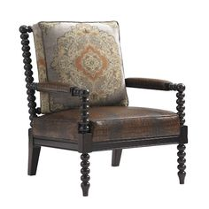Tommy Bahama Home Island Traditions Maarten Leather Chair In Croc-Embossed Leather and Tapestry Fabric