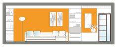Sistemazione interna e arredo appartamento - Prospetto soggiorno - Maria Teresa Azzola Designer - Cesano Boscone (MI) 2006