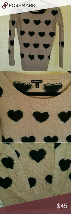 🍁Express ♡ Sweater🍁 Tan sweater with black hearts by Express. Super cute, just too small for me! Good used condition!  ✅Thanks for checking out my closet! ✅Prices are negotiable, make me an offer or bundle & save!! ✂💸 🚫Trades Express Sweaters Crew & Scoop Necks