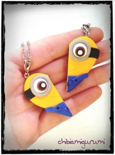 Items similar to Minion heart charm chibi necklace in polymer clay inspired- BBF - friendship - best friends forever - Valentine's day on Etsy Bff Necklaces, Best Friend Necklaces, Friendship Necklaces, Best Friends Forever, My Best Friend, Cute Minions, Minions Minions, Minion Party, Cute Charms