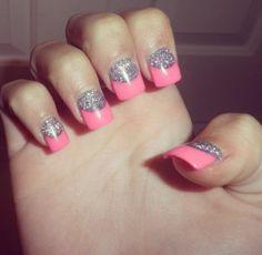 #nails #glitter #pink