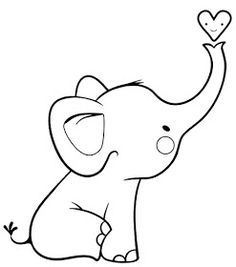 Baby Elephant Drawing, Elephant Outline, Elephant Sketch, Outline Drawings, Cartoon Drawings, Easy Drawings, Coloring Books, Coloring Pages, Beginner Quilt Patterns