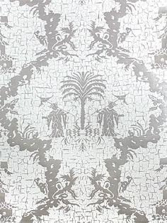 DecoratorsBest - Detail1 - Scala WP8981M-002 - Chinese Gator - Silver Metallic - Wallpaper - DecoratorsBest