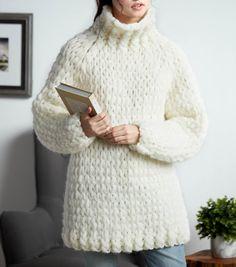 How To Make A Bernat® Alize® EZ Wool™ Cozy Cowl Neck Pullover Turtle Sweaters, Crochet Turtle, Chunky Yarn, Chunky Knits, Kids Wardrobe, Yarn Tail, Knitted Baby Blankets, Crochet Yarn, Crochet Sweaters