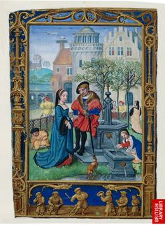 "1540s book of hours, ""The Golf Book"" by Flemish artist Simon Bening. ""The miniature for April shows a courting couple in a formal garden. April was the month associated with love and gardens were traditional meeting places for lovers."""