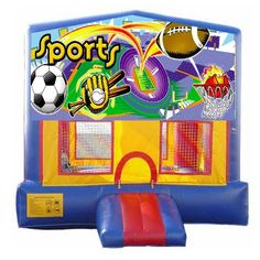 We added a few new banners to increase the number of themes you can make the bounce house! Check out this awesome Sports themed Bouncer! This unit rents for only $170 for 1-6 hours!