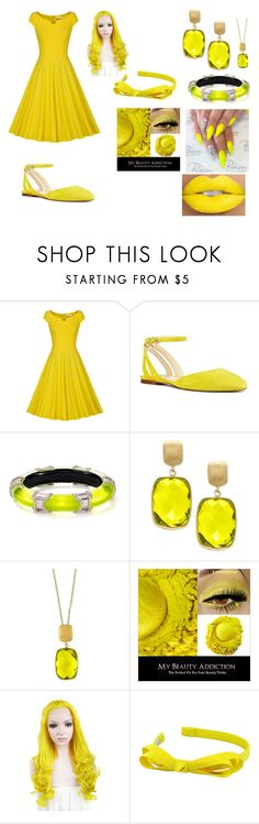 """Yellow Sunshine"" by mizuki-gudgen ❤ liked on Polyvore featuring Nine West, Alexis Bittar, Effy Jewelry and L. Erickson"