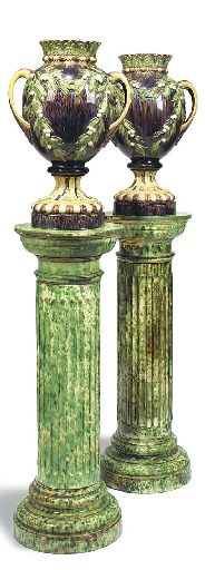 A PAIR OF FRENCH MAJOLICA VASES  CIRCA 1880. AND A PAIR OF ASSOCIATED MAJOLICA PEDESTALS, EARLY 20TH CENTURY