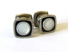 1920's Art Deco Square Cufflinks / Snap by RedRavenCollectibles