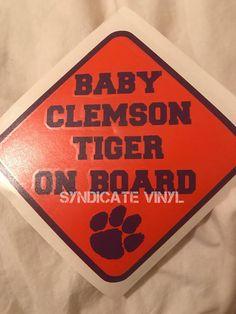 Pick your team Baby Clemson Tiger on Board Car Layered #babyonboard #team #clemson #clemsontigers #saints #texans #gamecocks #duke #seahawks #babyshower #gift #babyboy #babygirl