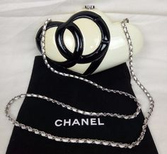 100% Authentic CHANEL Patent Leather Logo Heart Clutch Bag Limited Edition #CHANEL #Clutch