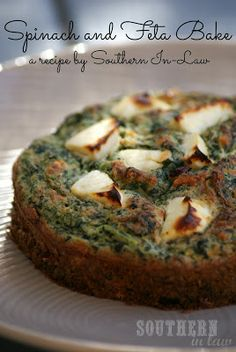 Not quite a frittata or a crustless pie, I'm calling it a bake! This Spinach and Feta Bake makes a healthy & delicious lunch or dinner! Gluten Free, Low Fat, High Protein, Clean Eating Recipe (try almond or coconut flour maybe to low carb it) Veggie Recipes, Lunch Recipes, Gluten Free Recipes, Vegetarian Recipes, Healthy Recipes, Vegetable Entrees, Paleo Meals, Healthy Habits, Healthy Food