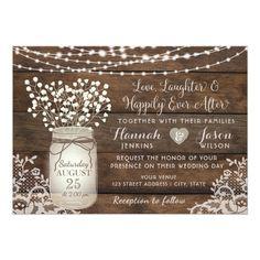 Rustic Wood Lace Wedding Invitation, Mason Jar Card