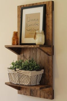 Vertical Rustic Wooden Shelf Rustic Shelf by DunnRusticDesigns