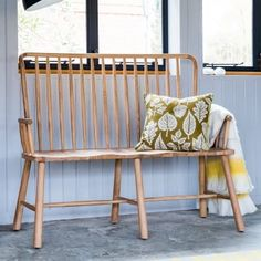 Alpine Contemporary Spindle Back Oak Loveseat Bench Bench Furniture, Rustic Furniture, Contemporary Furniture, Furniture Repair, Furniture Legs, Modern Contemporary, Hall Bench, Kitchen Benches, Kitchen Seating