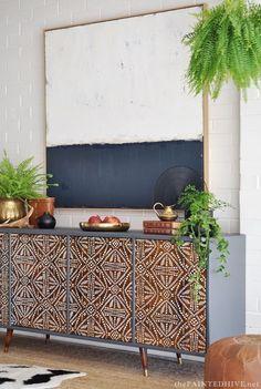 DIY Painted Pattern Furniture Makeover with Furniture Stencils - Decorated Custom Wood Cabinet Doors - Modern Mid Century - Tribal Batik Design - Royal Design Studio Stencils #refinishedfurniture
