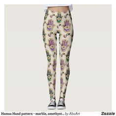 Hamsa Hand pattern - marble amethyst and gold Leggings : Beautiful #Yoga Pants - #Exercise Leggings and #Running Tights - Health and Training Inspiration - Clothing for #Fitspiration and #Fitspo - #Fitness and #Gym #Inspo - #Motivational #Workout Clothes - Style AND comfort can both be achieved in one perfect pair of unique and creative yoga leggings - workout and exercise pants - and running tights - Each pair of leggings is printed before being sewn allowing for fun designs on every square…