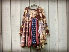 Cabbage Roses Upcycled Bohemian Tunic Top// Sheer by emmevielle, $89.00