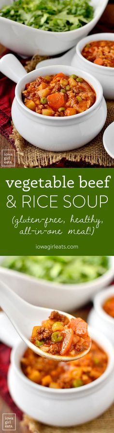 Vegetable Beef and Rice Soup | Iowa Girl Eats | Bloglovin'