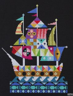 bateau de pirate, needlepoint pirate ship