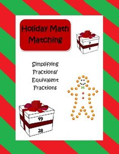 Use these holiday themed cards to enrich student learning and understanding of equivalent fractions and simplifying fractions. Simply cut out the c. Simplifying Fractions, Math Fractions, Equivalent Fractions, Too Cool For School, School Fun, School Ideas, Christmas Math, Classy Christmas, 5th Grade Math