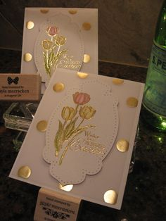 "Stampin'UP! set ""Blessed Easter"" from the 2014 Occasions Catalog. Also used the Fancy (Gold) Foil Vellum Sheets."