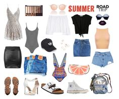 """Summer Road Trip"" by sydney504 ❤ liked on Polyvore featuring Levi's, Sans Souci, Birkenstock, Converse, Billabong, Steve Madden, Kate Spade, Chanel, Carolina Herrera and WearAll"