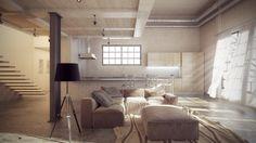Ethnic living room design, light and white ! Ethnic Living Room, Living Room Designs, Minimalism, Loft, Interior, Table, Furniture, Behance, Lighting