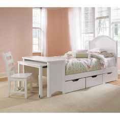 trundle bed with a desk
