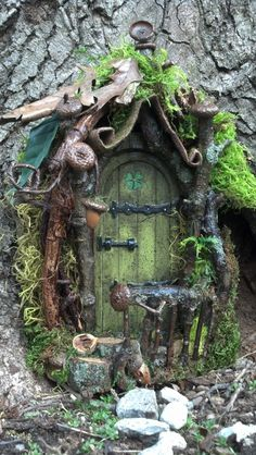 Curled Mossy Awning Fairy Door.