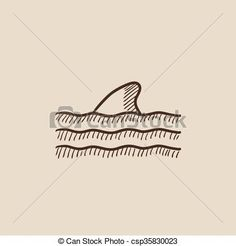 Dorsal shark fin above water sketch icon. Vector - stock illustration, royalty free illustrations, stock clip art icon, stock clipart icons, logo, line art, EPS picture, pictures, graphic, graphics, drawing, drawings, vector image, artwork, EPS vector art