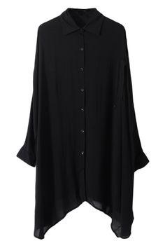 Anomalous Bat-wing Sleeve Black Blouse  #romwe