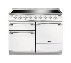 The elegant Rangemaster Elise 110 range cooker in white has a distinctly Continental design with stylish controls and brushed chrome trim. Packed with all the features you would expect from a traditional cooker the Elise dual fuel range is built with a Dual Fuel Cooker, Dual Fuel Range Cookers, Gas Cookers, Foyers, Rangemaster Cookers, Induction Range Cooker, Domestic Appliances, Foyer
