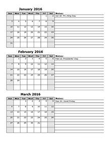 printable 3 month calendar