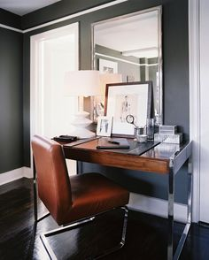Guest Bedroom/ Office Wall Color - Gray walls paint color, Restoration Hardware Traditional Wall Mirror, wood top polished nickel modern desk and tobacco leather Ralph Lauren Modern Penthouse Dining Chair.   Benjamin MooreDurango