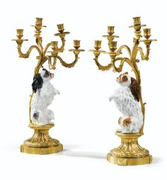 A PAIR OF GILT-BRONZE AND PORCELAIN CANDELABRA IN LOUIS XV STYLE, 19TH CENTURY