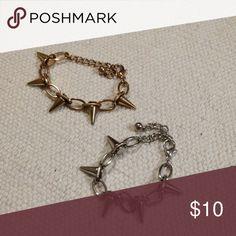 Adjustable chained spike bracelets Great condition Adjustable chained spike bracelets..rocker..grunge...goth Jewelry Bracelets