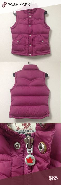 True Religion Puffer Vest This vest is a gorgeous berry red with down filling and will keep you so warm and cozy this Winter and Fall. It has only been worn a few times and is in great condition. Please let me know if you have any other questions. True Religion Jackets & Coats Vests