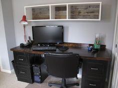 Teenage Boys Bedroom, over the desk shelves, IKEA hack, pallet wood backing for shelves